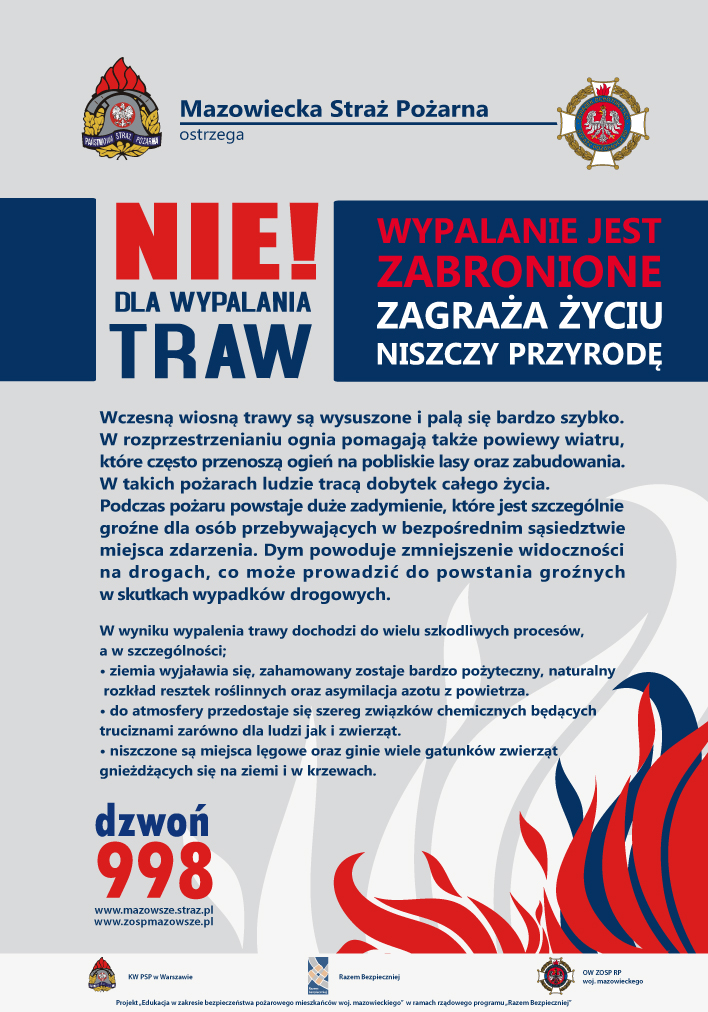 """""""NIE! Dla wypalania traw na Mazowszu""""."""