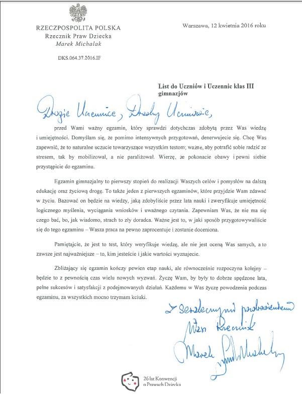 List Rzecznika Praw Dziecka do uczniów klas trzecich gimnazjów