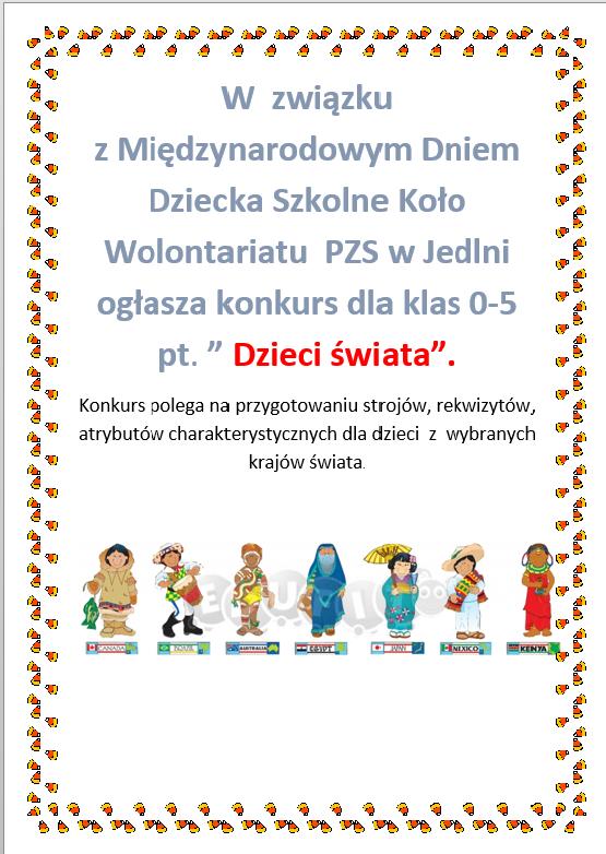 """Szkolny konkurs """"Dzieci świata"""""""