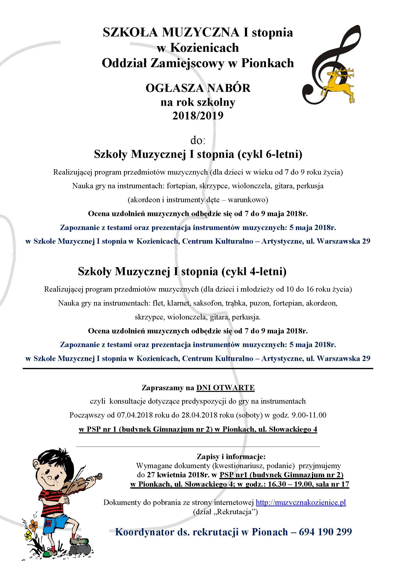 Rekrutacja do Szkoły Muzycznej I Stopnia 2018/2019