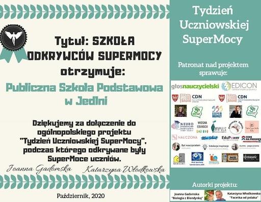 Mam tę moc, Super Moc – Tydzień Uczniowskiej Super Mocy w PSP w Jedlni